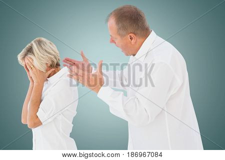 Digital composite of Side view of senior man arguing with woman