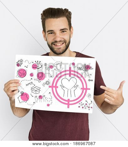 Caucasian guy holding a charity placard
