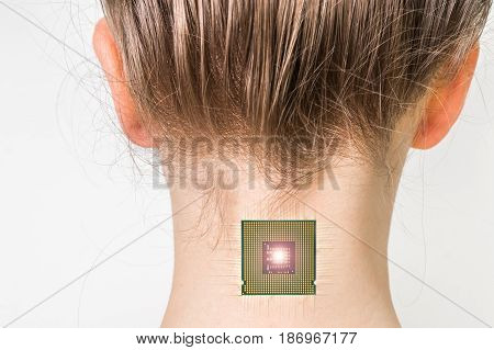 Bionic microchip implant in female human body - future technology and cybernetics concept