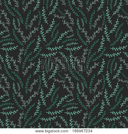 Seamless pattern with green twigs on black background. Vector illustration.