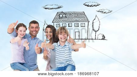 Digital composite of Happy family showing thumbs up sign with house in background