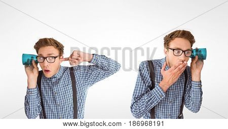 Digital composite of Multiple image of man listening through glass