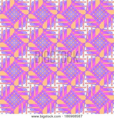 Abstract geometric  seamless retro background. Regular diamond pattern with circles in purple, white, violet and orange.