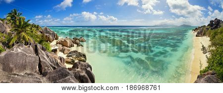 Beautiful panoramic view of beach in Seychelles, island La Digue, Anse Source d'Argent. Vacation and travel paradise