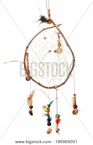 a selfmade dreamcatcher on a white background