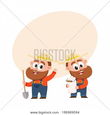 Two funny farmer, gardener characters in straw hat and overalls, one holding shovel another with milk can, cartoon vector illustration with space for text. Couple of comic farmer characters