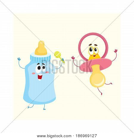 Funny baby dummy, pacifier and milk, feeding bottle characters, child care concept, cartoon vector illustration isolated on white background. Baby pacifier, dummy and milk bottle character, mascot