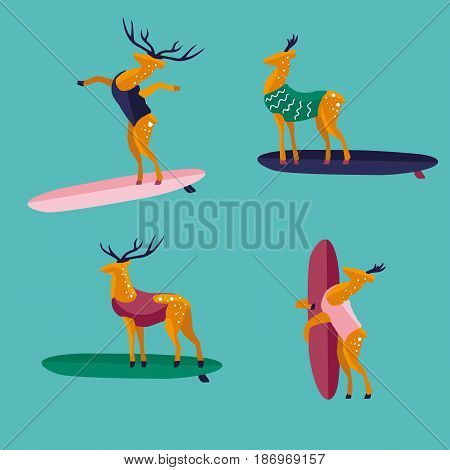 Funny cartoon deers on surfboard in swimsuit. Characters flat style illustration. Summer beach surfing.