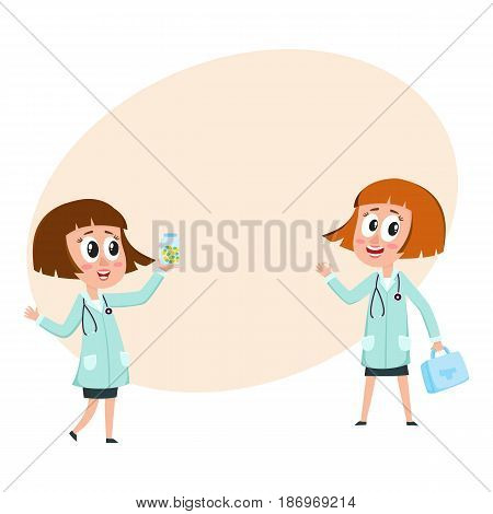 Two comic woman doctor characters holding medical box, medicine bottle, ready to help, cartoon vector illustration with space for text. Funny woman doctors, first aid concept, medical help