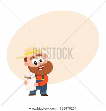 Funny farmer, gardener character in straw hat and overalls holding retro style milk can, canister, cartoon vector illustration with space for text. Comic farmer character, design elements