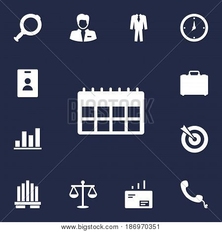 Set Of 13 Business Icons Set.Collection Of Building, Clothes, Message And Other Elements.