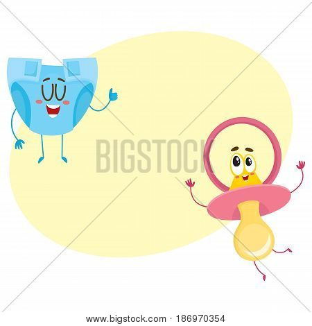 Funny baby dummy, pacifier and diaper, nappy characters, child care concept, cartoon vector illustration with space for text. Baby pacifier, dummy and diaper, nappy character, mascot