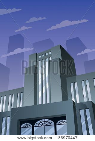 Cartoon city building in Art Deco style.