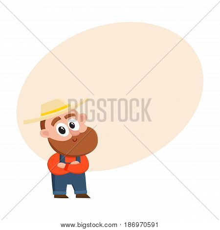 Funny farmer, gardener character in straw hat and overalls standing with arms crossed on breast, cartoon vector illustration with space for text. Comic farmer character, design elements