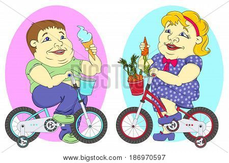 two very fat people - twins girl and boy for children s bikes