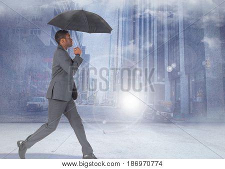 Digital composite of Businessman walking with umbrella in city
