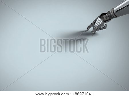3D Digital composite of Android Robot hand pointing with grey background