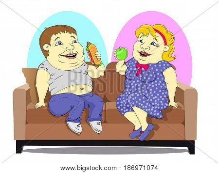 Fat woman in a polka-dot dress with an Apple in hand and a fat man in jeans and a t-shirt with hot dog in hand sitting on the couch