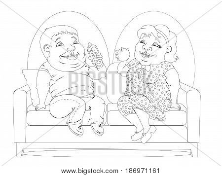 Fat woman in a polka-dot dress with an Apple in hand and a fat man in jeans and a t-shirt with hot dog in hand sitting on the couch. Black and white drawing for coloring