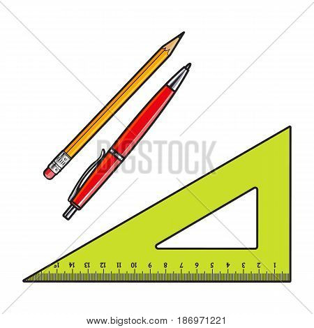 Simple angle ruler pen and pencil, office supplies, school stationary, sketch style vector illustration isolated on white background. Realistic hand drawing of school angle ruler, pan and pencil