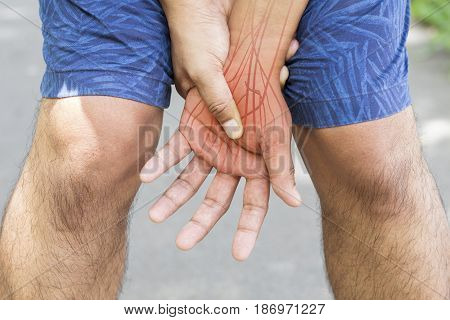 hand nerve pain white background hand injury