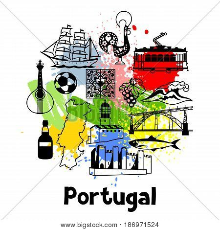 Portugal print design. Portuguese national traditional symbols and objects.