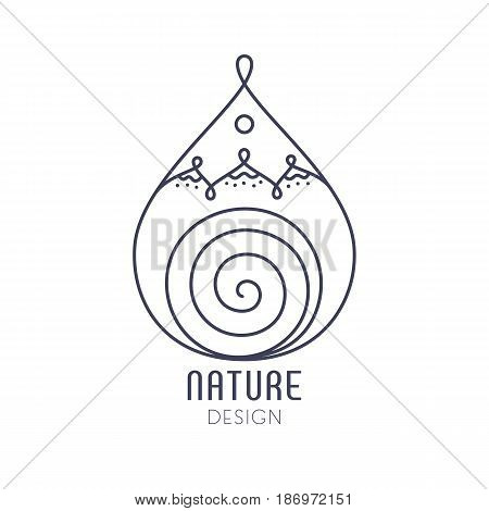 Vector logo in the form of drop on white background. Linear icon of landscape - mountains, river. Business emblems, badge for a travel, ecology and climate concepts, spa, health and yoga Center.
