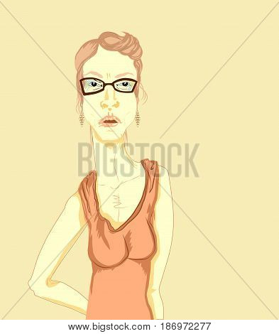 There was a young blond unhappy serious woman with glasses a dress with shoulder straps and earrings.
