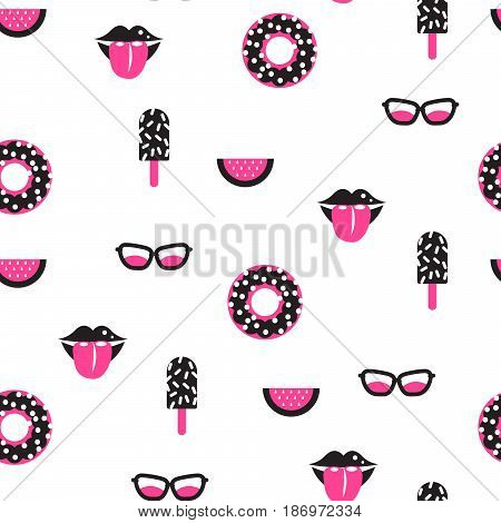 Funky pop pink and black vector seamless pattern. Lips, ice cream, donut and sunglasses fun background.