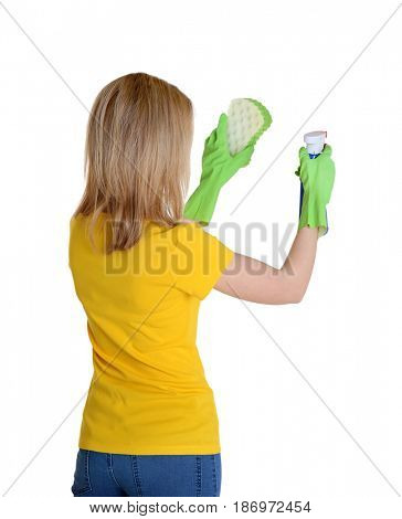 Young woman with sponge and spray for cleaning window on white background