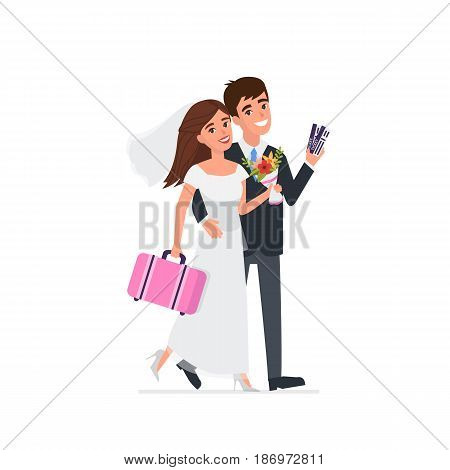 Young newlyweds go on a wedding travel. Vector illustration.