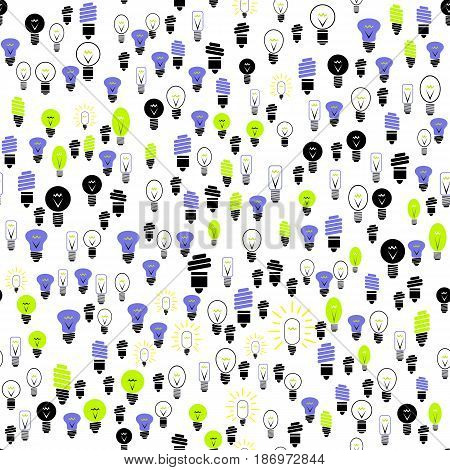 Electric lightbulbs Seamless Pattern on White Background