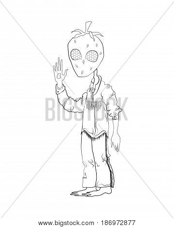 A strange creature with the head in the form of strawberries and with compound eyes is. He is dressed in a denim shirt and pants in an Indian style. He raised his hand. black and white drawing for coloring.