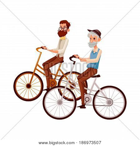 Old and young man, father and son, grandfather and grandson, riding bicycle, cycling together, cartoon vector illustration isolated on white background. Old and young men, tourists riding bicycles