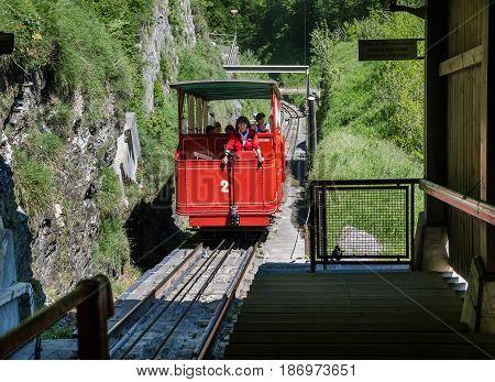 Reichenbachfall Funicular (reichenbachfall-bahn)  From Willigen, Near Meiringen, To Uppermost Of The