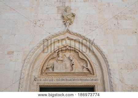 Perspective of Mother church of Noci. Puglia. Italy.