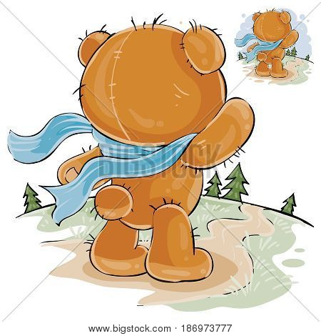 Vector illustration of a brown teddy bear sad standing in the wind, looking at the road and waiting for someone. Print, template, design element