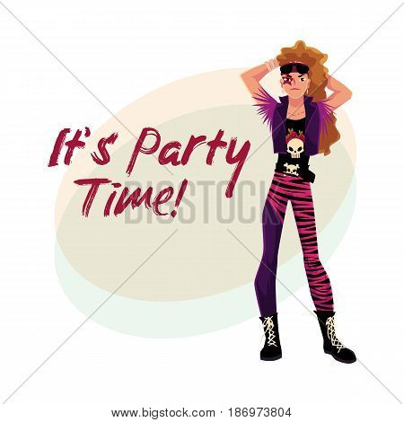 Glam rock party invitation, banner poster template with young man dressed in vest and boots, cartoon vector illustration. Glam rock party invitation banner, poster layout with rock star man