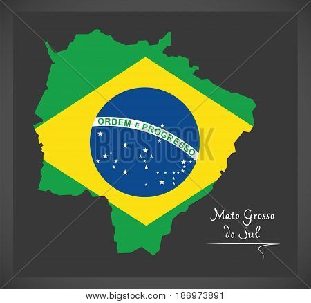 Mato Grosso Do Sul Map With Brazilian National Flag Illustration