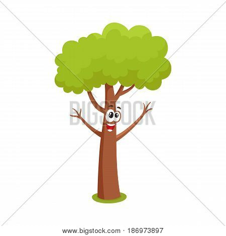 Funny comic style tree character raising branchies as hands, cartoon vector illustration isolated on white background. Funny, crazy tree character, mascot with smiling human face, greeting gesture