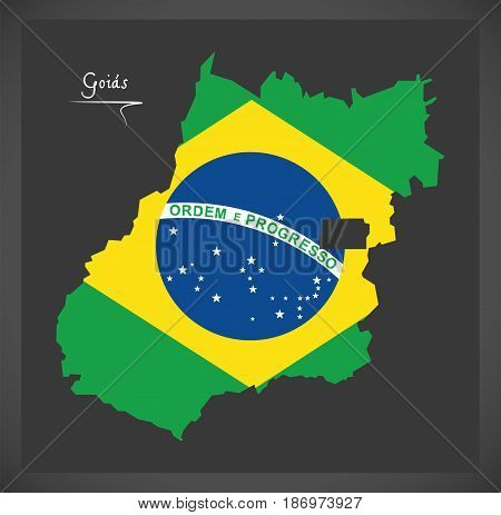 Goias Map With Brazilian National Flag Illustration