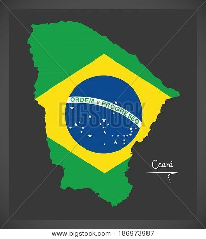 Ceara Map With Brazilian National Flag Illustration