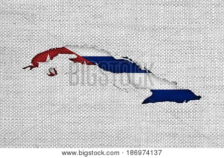 Map And Flag Of Cuba On Old Linen