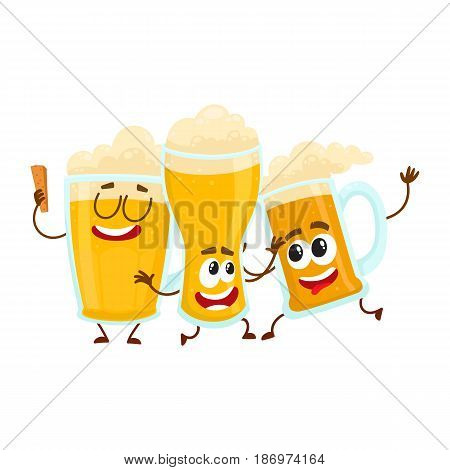 Three funny smiling beer glass and mug characters, friends having fun, dancing together, cartoon vector illustration isolated on white background. Cute and funny beer mug and glass characters, mascots