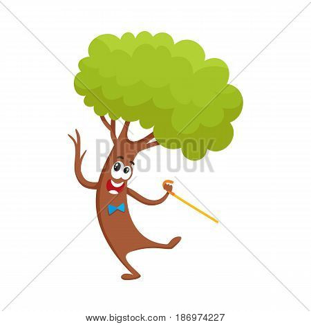 Funny comic tree character dancing step with walking cane, cartoon vector illustration isolated on white background. Funny smiling tree character, mascot in bow tie dancing with walking stick, cane