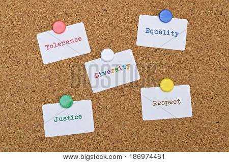Words Equality and Justice written on five white stickers pinned on cork board
