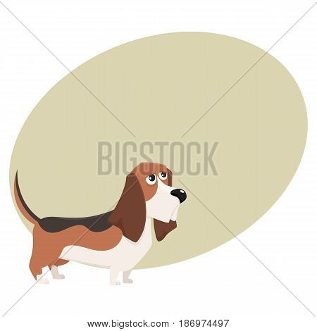 Cute purebred basset hound dog character, cartoon vector illustration with space for text. Nice and friendly basset hound dog character, colorful cartoon illustration