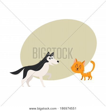 Husky dog dog and red cat, kitten characters, pets, friendship concept, cartoon vector illustration with space for text. Husky dog dog and red cat characters, friends