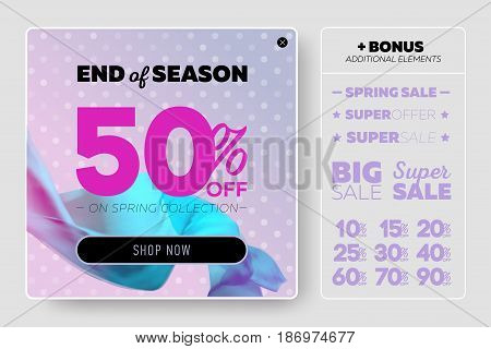 Tender Pastel Vector Sale Template with Flying Silk on Lilac Background with Polka Dot Pattern. Advertising Design for Cloth Shop Online Store Web Banner Pop-Up Poster Flyer.