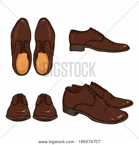 Vector Set of Cartoon Brown Classical Shoes. Views Variations.